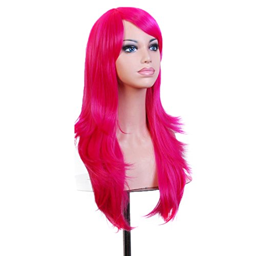 Wigood 28 inch Hot Pink Long Curly Hair With Air Bangs Cosplay Wig with Free Wig Cap for (Hot Cosplay Anime)