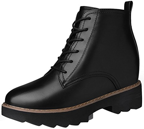 Women's Round Toe Flat Brogue Martin Boots London Ankle Boots Black - 1
