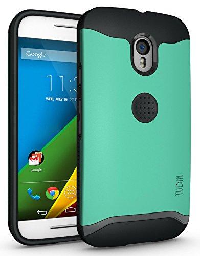 Motorola Moto G 3 (3rd Gen 2015 Released) Funda, Caja protectora TUDIA Slim-Fit MERGE de doble capa para Motorola Moto G 3 (3rd Gen 2015 Released) (Negro Mate) Menta