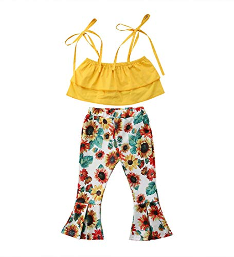 Toddler Kids Baby Girl Floral Halter Ruffled Outfits Clothes Tops+Shorts 2PCS Set (4-5 Years, Sunflower)]()