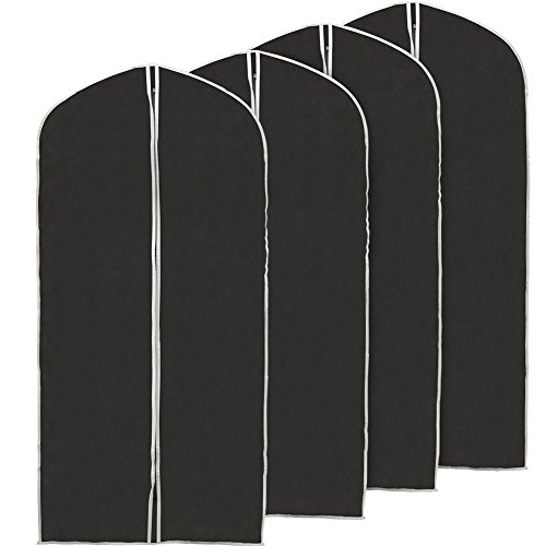 EZOWare 60 inch Garment Bag, Black Foldable Breathable Garment Suit Dress Jacket Coat Shirt Dust Cover Travel Bag - Set of 4