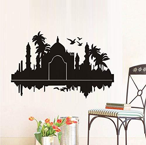 ZGQQQ Taj Mahal India Pegatinas De Pared Palmas Pájaros Vinilo ...