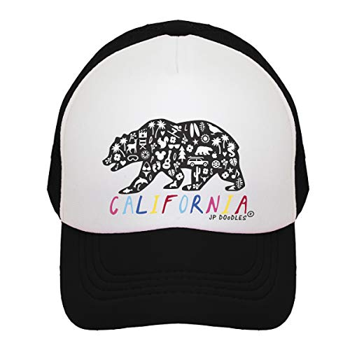 JP DOoDLES California Rainbow Bear on Kids Trucker Hat. The Kids Baseball Cap is Available in Baby, Toddler, and Youth Sizes (Black, Kiddo (2-5 YRS))