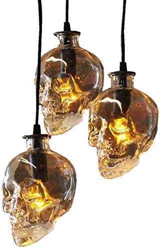 CLFINE Glass Skull Industrial Vintage Retro Style Pendant Light Fixture,Creative 3 Lights Hanging Ceiling Light Chandelier Skull Lamp Fixture for Living Room Balcony Restaurant bar 3 Heads Round