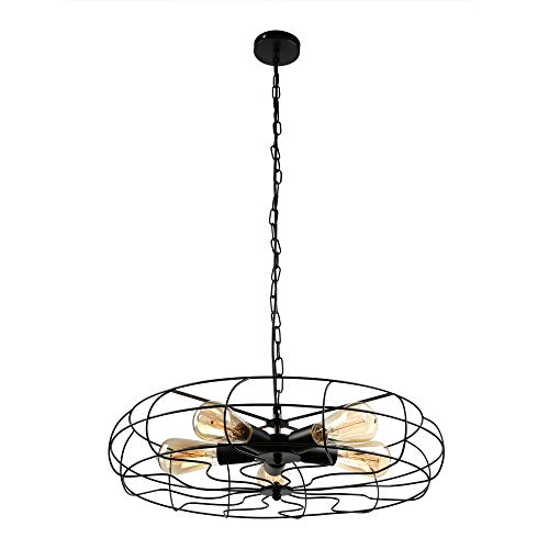 BAYCHEER HL416586 Industrial Vintage Wrought Iron Semi Flush Mount Ceiling Light Chandelier Metal Hanging Fixture with 5 Lights, Black