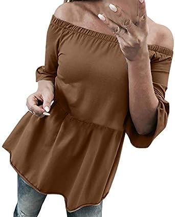 HoSayLike Camiseta niña Verano Camisa Casual con Hombros Descubiertos, para Mujer, Manga Tres Cuartos con Cuello en O, Tops sólidos, Blusa: Amazon.es: Ropa y accesorios