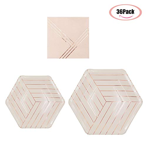 36pcs Party Disposable Dinnerware Sets for Wedding Birthday Camping Party Tableware Gilding Decoration Pink Bronzing Gold Party Paper Plates and Napkins Eco-Friendly Dinner Paper Napkins Plates(Pink)