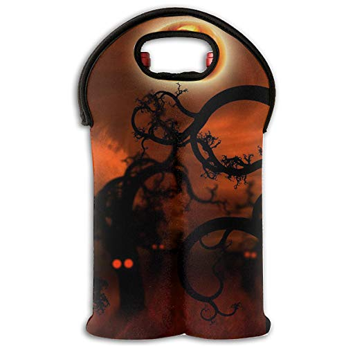 Happy Halloween Pumpkin Moon 2-Bottle Wine Carrier Tote Bag Traveling Wine/Water Bottle Handbag With Carry Handle Two Bottle Drinks Beer Holder ()