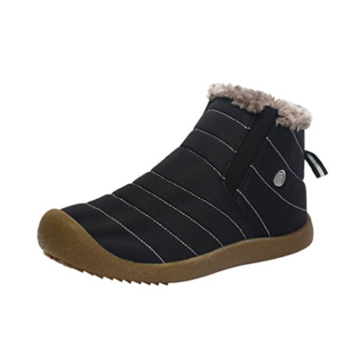 huichang Mens Winter Snow Ankle Boots Casual Shoes Outdoor Work Shoes Black lCTB4rdK8