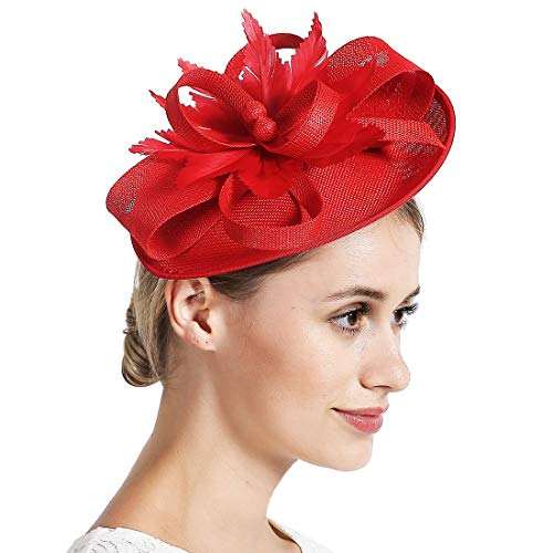 Free Yoka Womens Fascinators Feather Pillbox Hat Cute Beads for Cocktail Kentucky Derby Ball Wedding Church Party (Elliptic Red)]()
