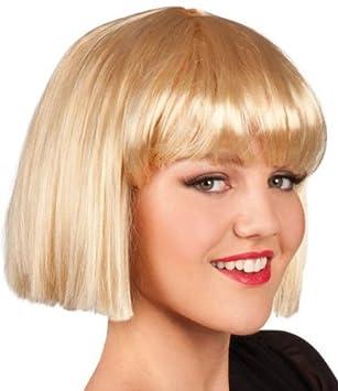 Peluca rubia corta con flequillo para mujer