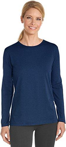 (Coolibar UPF 50+ Women's Long Sleeve Everyday T-Shirt - Sun Protective (Medium- Navy))