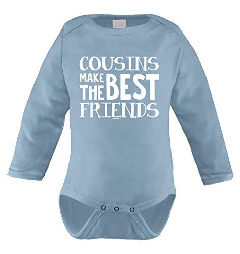 Cousins Make The Best Friends Infant Long Sleeve Bodysuit (Light Blue, Newborn)