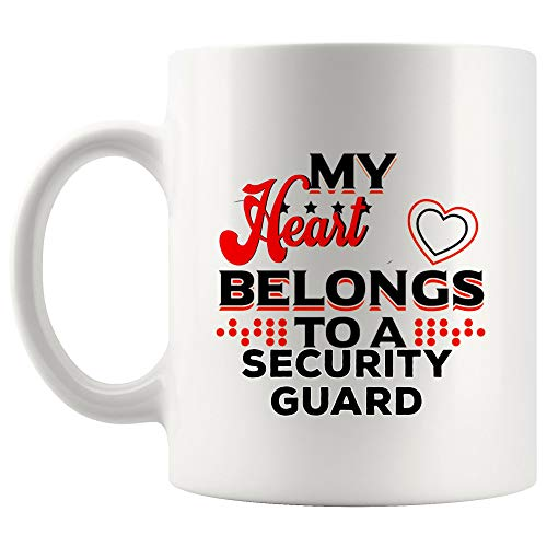 My Heart Belong Security Guard Mug Coffee Cup Tea Mugs GiftLove Couples Wife Husband Girlfriend Boyfriend Valentine | Funny School Gift Mom Dad Training Graduation Student Most Awesome