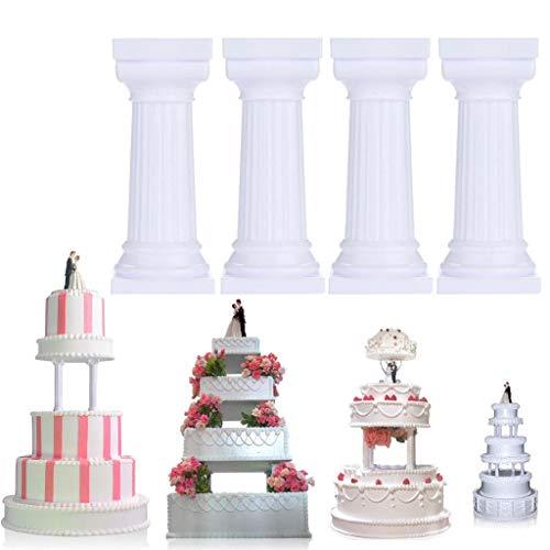 - 4pcs Multi-layered Cake Roman Column Support Stand Decor Pillars Wedding Cake,White