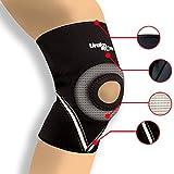 Neoprene Open Patella Knee Sleeve Brace Max Compression Black Thick Compression Knee Brace Sleeve for Weight Lifting, Crossfit, Support - Urakn Sports (Medium)