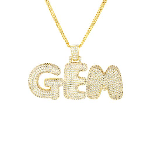 MoCa A-Z Custom Name Bubble Letters Necklaces & Pendant Charm for Men Women Gold Silver Color Cubic Zirconia with Rope Chain Gifts ()