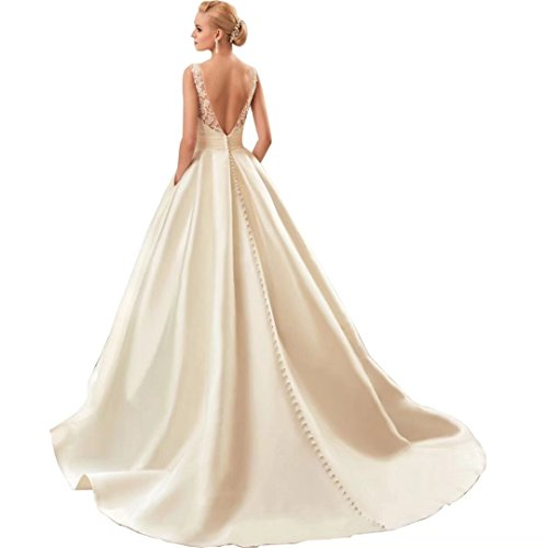 Chady Sexy Backless Satin Wedding dresses for Bride 2017 Long Train Vintage Lace Sleeveless Prom dresses Party gowns by Chady