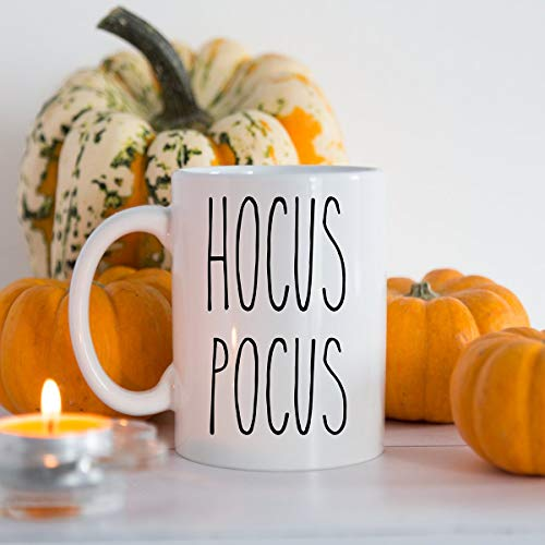 Rae Dunn Inspired Hocus Pocus Mug, Halloween Mug, Halloween Gift, 15oz White Ceramic Mug ()