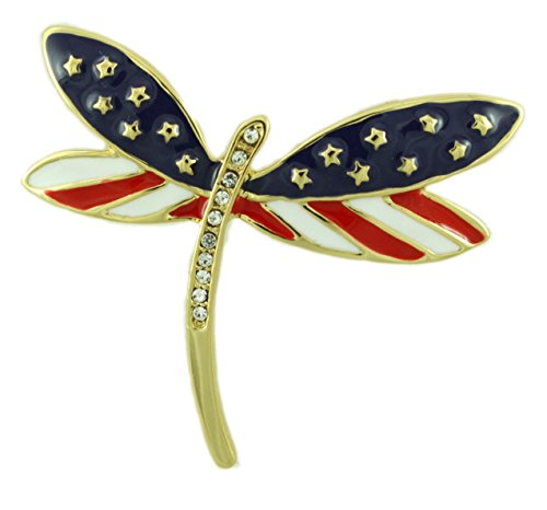 - Lilylin Designs Patriotic Red, White, and Blue Dragonfly Brooch Pin