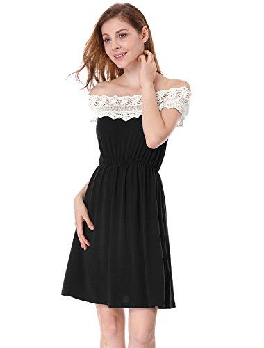 Allegra Épissure Élastique Modèle K Épaule Femme Découverte Robe Crochet Fleur Noir Taille r4wqrzUY
