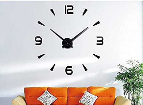 Amazon.com: Lance Home Creative Special Large DIY Quartz Decoration 3D Wall Clock Modern Design Mirror Sticker Wall Clocks Watch Hours Non-ticking Home ...