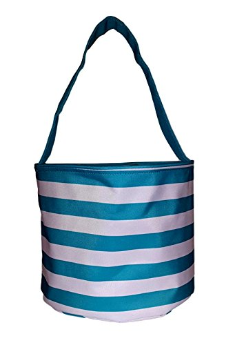Fabric Bucket Tote Bag for Children - Toys - Easter Basket - Can Be Personalized (Aqua & White Stripe)