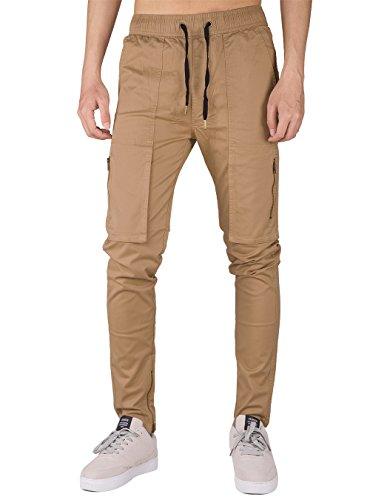 THE AWOKEN Men's Casual Chino Jogger Cargo Pants Stretch Combat Cotton Black (Dark Khaki, XL)