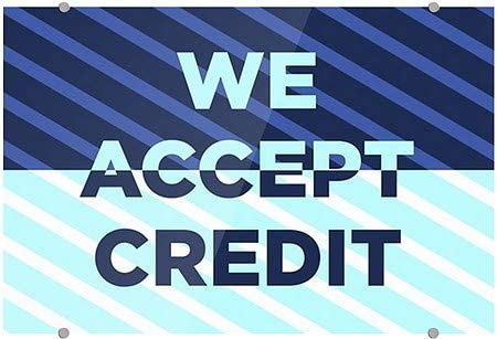 We Accept Credit CGSignLab 5-Pack 27x18 Stripes Blue Premium Acrylic Sign