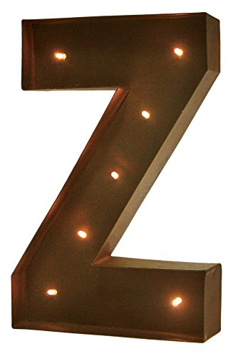 Modernhome Rustic Vintage 11'' Decorative LED Light Glow Letters - Letter Z by Modernhome