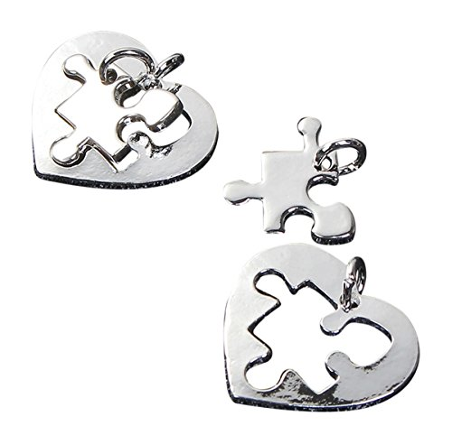 Autism Awareness Puzzle Piece Charms Silver Tone Asperger Syndrome (10 Hearts & Pieces)