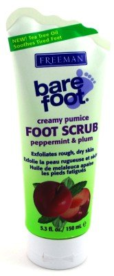 Freeman Bare Foot Creamy Pumice Foot Scrub, Peppermint & Plum, 5.3 oz (Pack of 6)