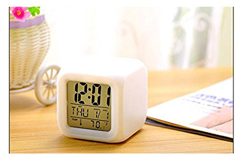 - Dynamic Projection Of Colored Morning Clock, Digital Alarm LED Clock Weather Station Thermometer with Date Alarm Clock