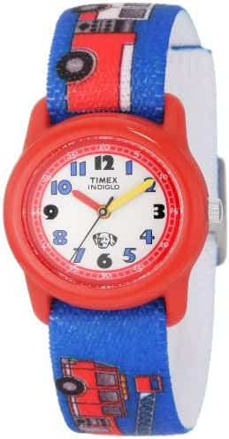 Timex Kids' T7B704 Quartz Analog Fire Trucks Elastic Band Watch