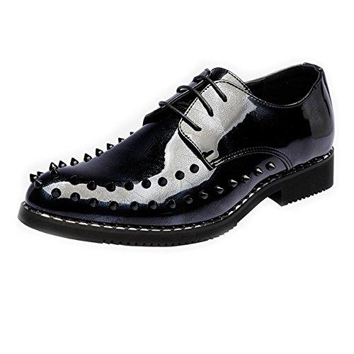 2018 Richelieus Homme, Chaussures de Style Punk Hommes Lisses en Cuir PU Prom Loafer Lace Up Oxford Doubl