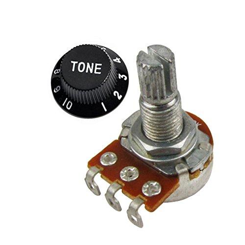 Mini Guitar Potentiometer Amp Pots, 500K 250K Audio Linear Knurled Split Shaft Fits for Les Paul guitars (A500k Taper Tone Control)