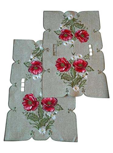 Set of 2, Fashions Fancy Poppy Flowers Embroidered Cutwork Spring Table Top, 2 Pieces, 12 x 17'' Place - Lace Poppy