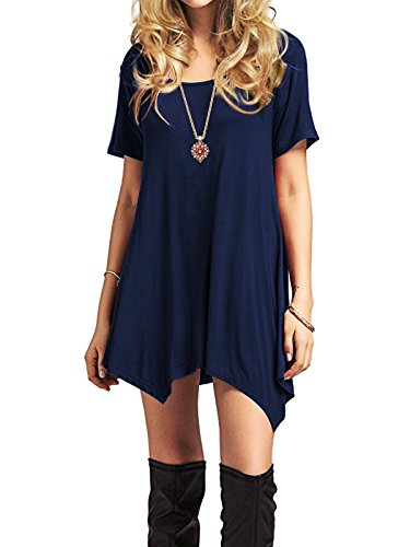 Short Flowy Trends Dresses Navy Sleeve Short Tunics Shirt Dress Casual Summer American Midi Sleeve Womens Swing T wBUIdq6q