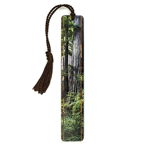 Wooden Bookmark with Color Photograph by Mike DeCesare - Redwoods - Old Growth at Redwood National Park, - Redwood Growth Old