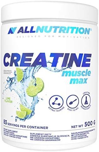 ALLNUTRITION Creatine Muscle Max 1er pack 500g 0,5kg Kreatin Muskelaufbaum Muskelkraft Hoher Gehalt an Kreatin Monohydrat mit Taurine Energie Kraft Gym ( Pure )