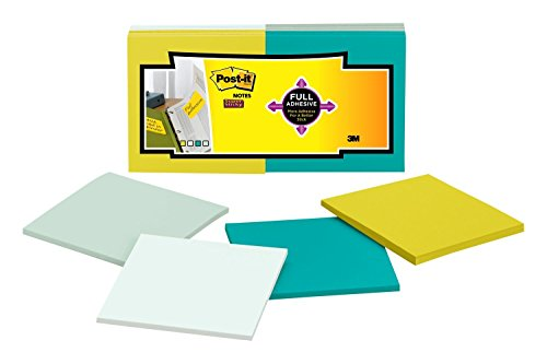 (Post-it Super Sticky Full Adhesive Notes, 2x Sticking Power, 3 in x 3 in size, Bora Bora Collection, 12 pads/pack (F330-12SSFM))