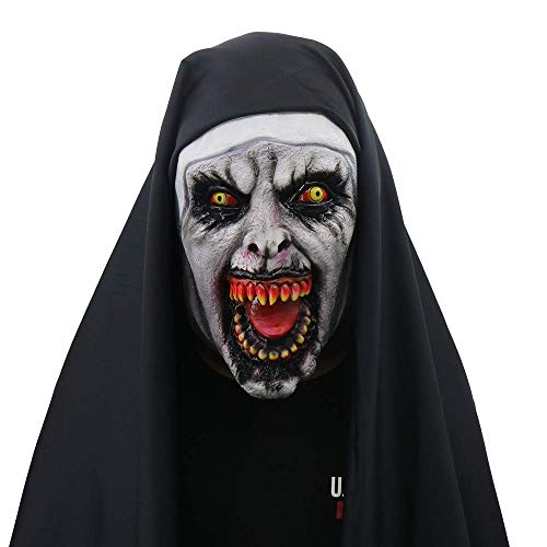 LZX Halloween Ghost Festival Horror Nun Mask Surprise Female Ghost Face Mask Nun Cosplay Mask Latex Scary Full Head(Demon Nuns),1 -