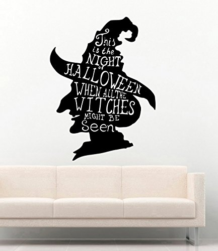 FSDS Vinyl Wall Decal - Halloween Witch in Hat Quotes This is The Night of Halloween When All The Witches Might Be Seen - Home Decor Sticker Vinyl Decals -