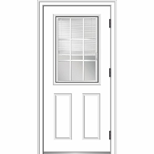 National Door Company ZZ364854L Smooth, Primed, Left Hand Outswing, Prehung Door, 1/2 Lite 2-Panel, Internal Blinds and Grilles, 32