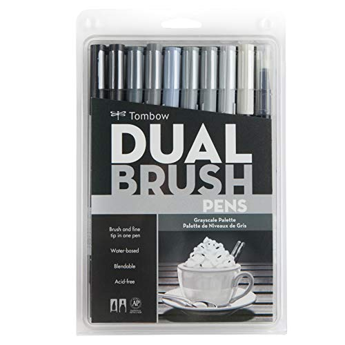 Tombow 56171 Dual Brush Pen Art Markers, Grayscale, 10-Pack. Blendable, Brush and Fine Tip Markers ()