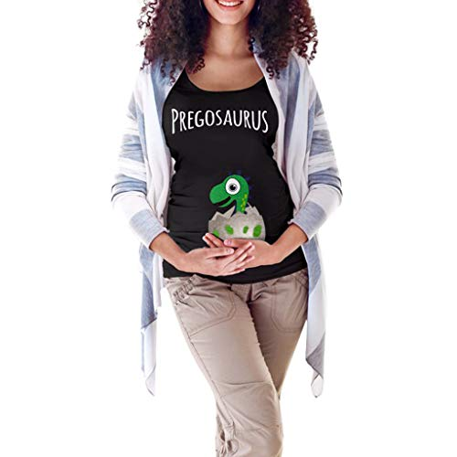 ee20057befb7f Funny Easter Egg Cartoon Dinosaur T-Shirt for Pregnant | Wesracia Graphic Maternity  Tee Tops