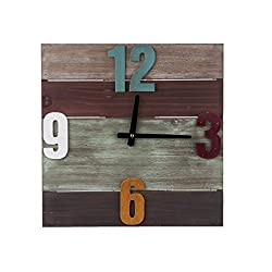 TORCHNOLOGY Wooden Square Silent Wall Clock Large Colorful Number Design Clock, 16 Inch