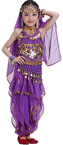 Seawhisper Kid's Belly Dance Costume Girl Bollywood Dance Tribal Halloween Costume(B style dark (Dark Dance Costumes)