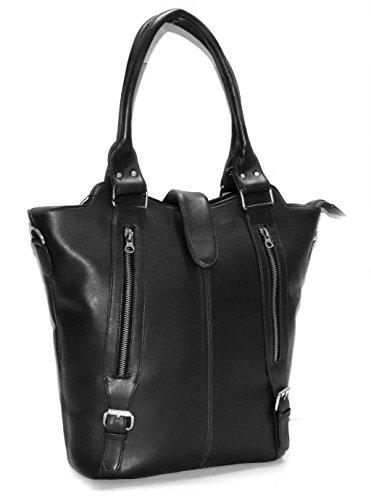 World Of Leather Women Soft Lambskin Leather Purse Handbag Messenger Shoulder Bag (Black) ()