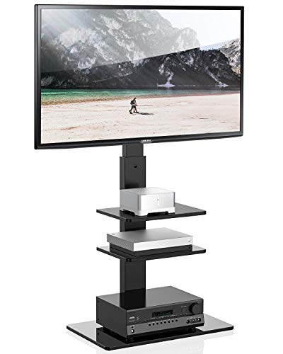 FITUEYES Universal TV Stand with Swivel Mount Height Adjustable for 32-65 Inch,TT307001MB,Two Kinds of Packaging Random Delivery